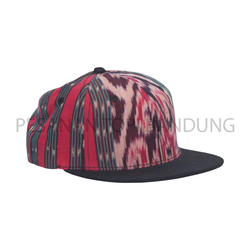 snapback kain tenun_pesanan topi bandung